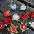 ROSE brooches hand felted out of 100% merino wool